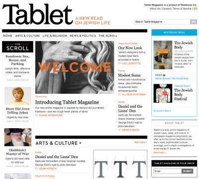 Tablet Magazine home page, June 9, 2009